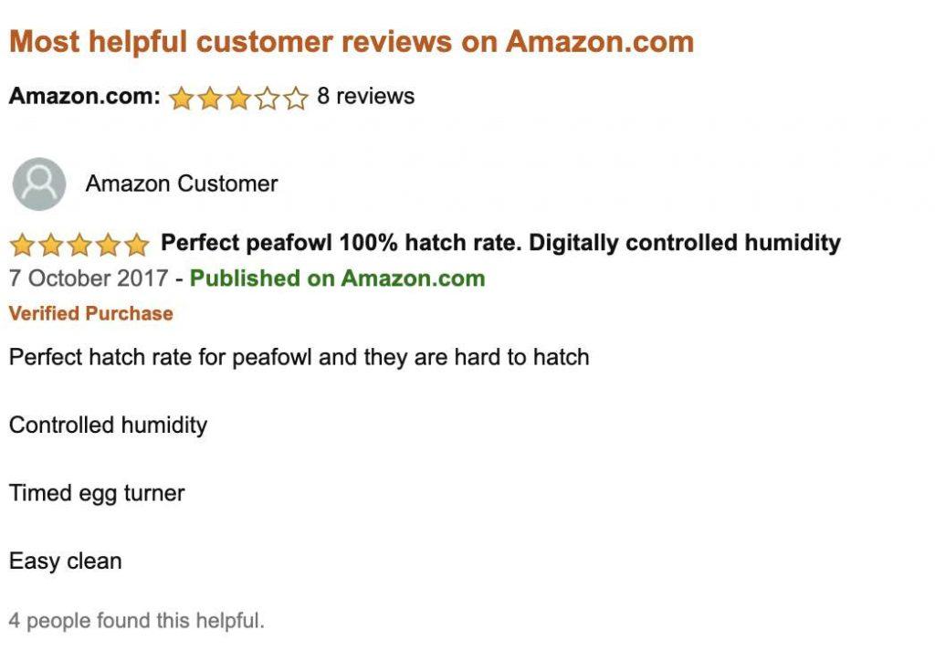 Positive reviews for R-Com Digital Egg Incubator